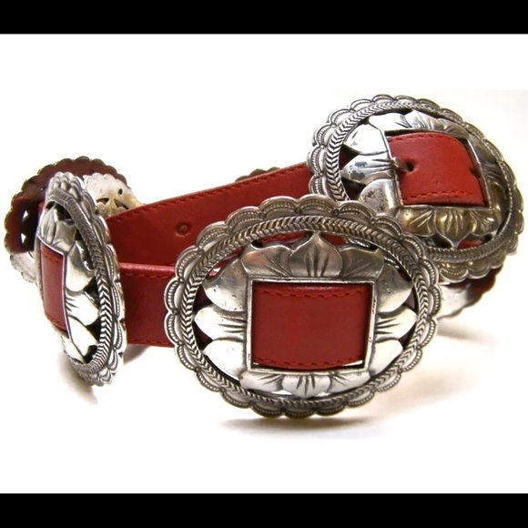 BRIGHTON Red Leather Conch Belt size S